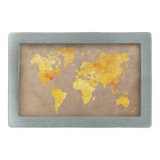 Boucle De Ceinture Rectangulaire jaune de carte du monde