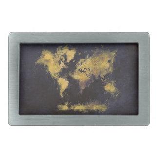 Boucle De Ceinture Rectangulaire jaune de noir de carte du monde