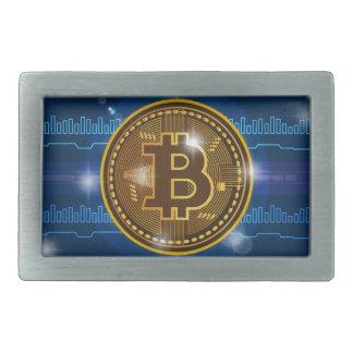 Boucle De Ceinture Rectangulaire Logo de Bitcoin et conception frais de graphique