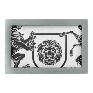 Boucle De Ceinture Rectangulaire Manteau héraldique de licorne et de lion de crête