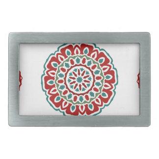 Boucle De Ceinture Rectangulaire Motif floral de rétro abrégé sur coloré bohémien