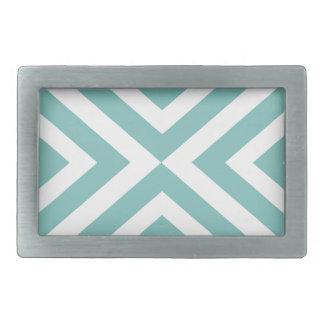Boucle De Ceinture Rectangulaire Motif géométrique abstrait - bleu et blanc