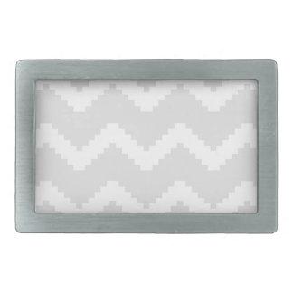 Boucle De Ceinture Rectangulaire Motif géométrique abstrait - gris et blanc