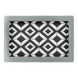 Boucle De Ceinture Rectangulaire Motif géométrique abstrait - noir et blanc.