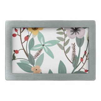 Boucle De Ceinture Rectangulaire Motifs et feuille floraux d'eucalyptus