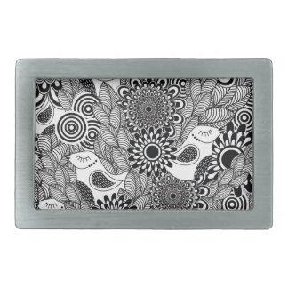 Boucle De Ceinture Rectangulaire oiseaux noirs et blancs tropicaux