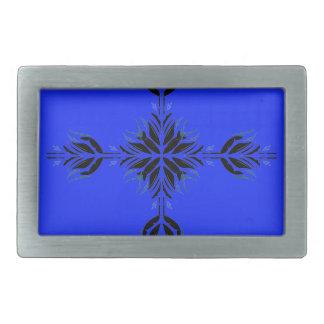 Boucle De Ceinture Rectangulaire Ornements bleus