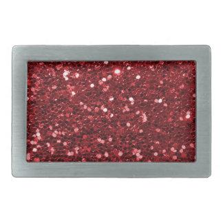 Boucle De Ceinture Rectangulaire Parties scintillantes rouges de Faux