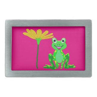 Boucle De Ceinture Rectangulaire petite grenouille et fleur jaune