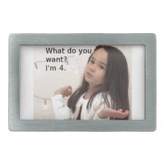 """Boucle De Ceinture Rectangulaire """"Que voulez-vous ? J'ai 4.ans photo"""