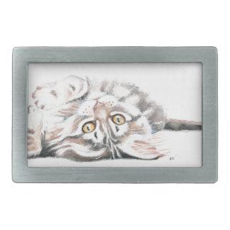 Boucle De Ceinture Rectangulaire Ragondin mignon Kitty du Maine d'aquarelle