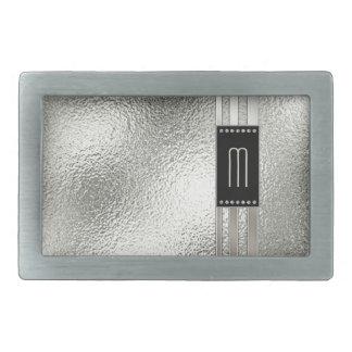 Boucle De Ceinture Rectangulaire Rayures en métal sur le monogramme en verre ID443