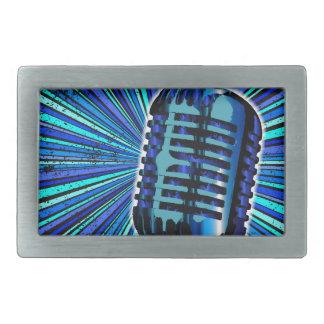 Boucle De Ceinture Rectangulaire Rétro microphone bleu