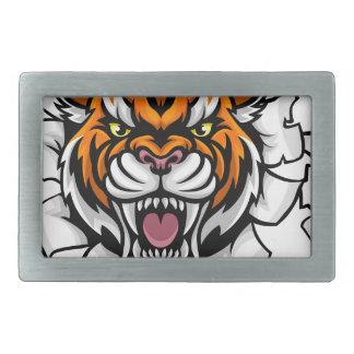 Boucle De Ceinture Rectangulaire Tigre tenant la boule de base-ball cassant