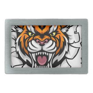 Boucle De Ceinture Rectangulaire Tigre tenant la boule de basket-ball cassant