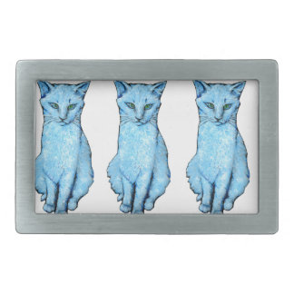 Boucle De Ceinture Rectangulaire Trois chats bleus