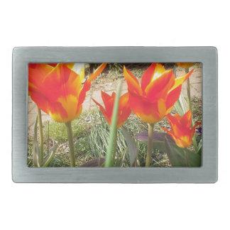 Boucle De Ceinture Rectangulaire Tulipes rouges et jaunes