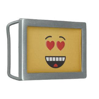 Boucle De Ceinture Rectangulaire Visage de sourire avec les yeux en forme de coeur