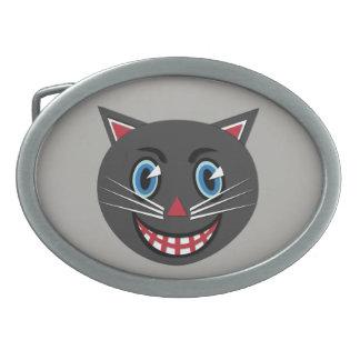 boucle de ceinture vintage de chat noir des années