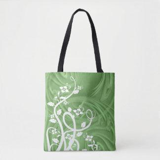 Boucles au-dessus d'illustration verte tote bag