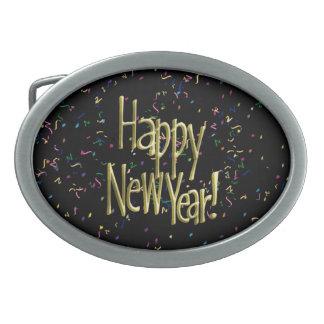 Boucles De Ceinture Ovales Bonne année - texte d'or sur les confettis noirs