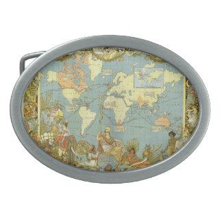 Boucles De Ceinture Ovales Carte antique du monde de l'Empire Britannique,
