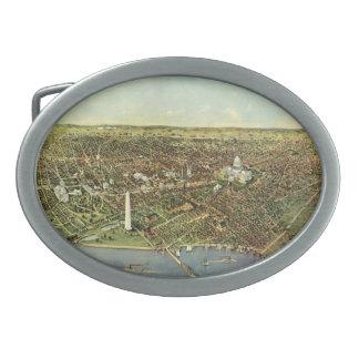 Boucles De Ceinture Ovales Carte antique, vue panoramique de Washington DC