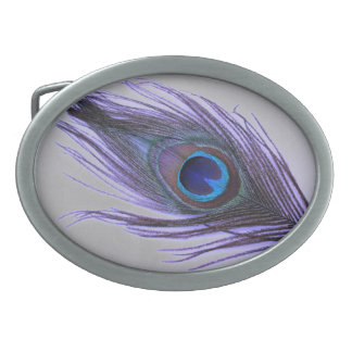 Boucles De Ceinture Ovales Choisissez la plume pourpre de paon d'arrière -