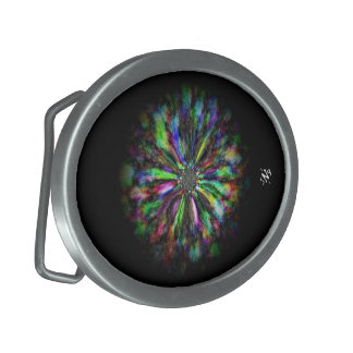 Boucles De Ceinture Ovales Croquis psychédélique coloré d'une fleur