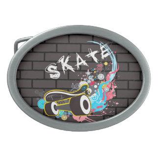 Boucles De Ceinture Ovales Logo de graffiti de patin de mur de briques avec