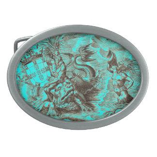 Boucles De Ceinture Ovales Poseidon et carte du monde de dauphin