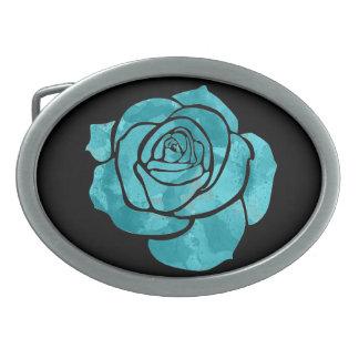 Boucles De Ceinture Ovales Rose de bleu sur le noir