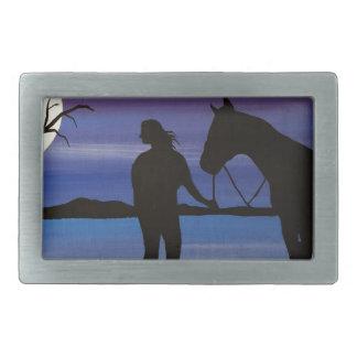 Boucles De Ceinture Rectangulaires cavalier et cheval