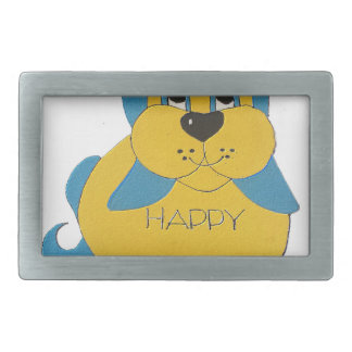 Boucles De Ceinture Rectangulaires Chiot heureux bleu et jaune