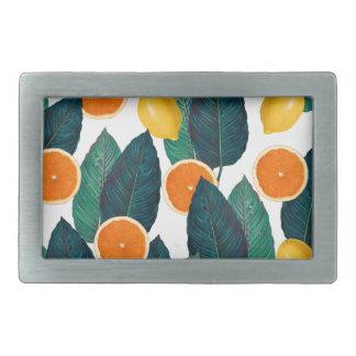 Boucles De Ceinture Rectangulaires Citrons et oranges blancs