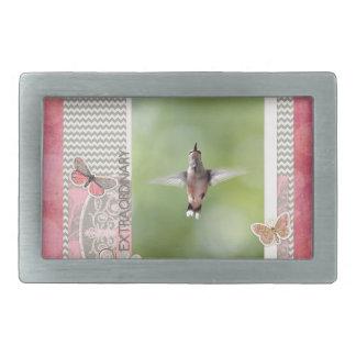 Boucles De Ceinture Rectangulaires Colibri extraordinaire de vol, rose, cadre gris