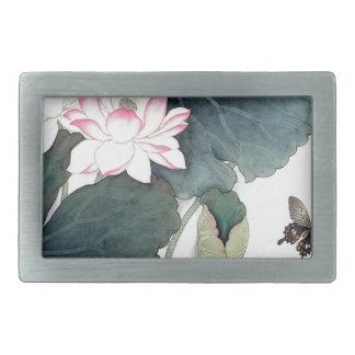 Boucles De Ceinture Rectangulaires Cool asiatique d'art de papillon de fleur de rose