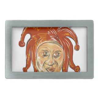 Boucles De Ceinture Rectangulaires Dessin de tête de farceur de cour