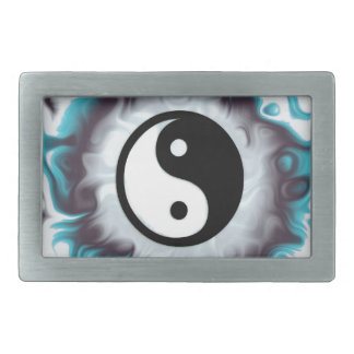 Boucles De Ceinture Rectangulaires Flamme de Yin Yang Teal
