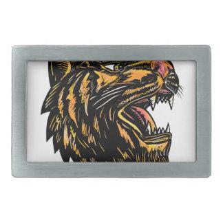 Boucles De Ceinture Rectangulaires Gravure sur bois en tigre de grognement