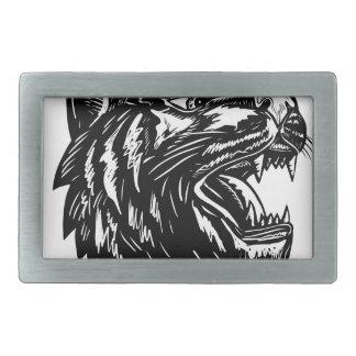 Boucles De Ceinture Rectangulaires Grognement Scratchboard de tigre