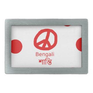 Boucles De Ceinture Rectangulaires Langue et conception bengali de symbole de paix