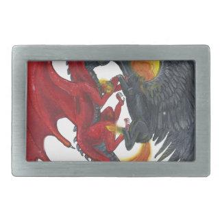 Boucles De Ceinture Rectangulaires Licorne noire du feu et dragon rouge