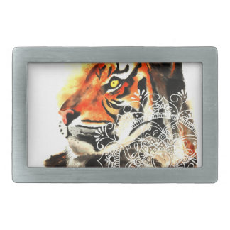 Boucles De Ceinture Rectangulaires Mandala de tigre d'aquarelle