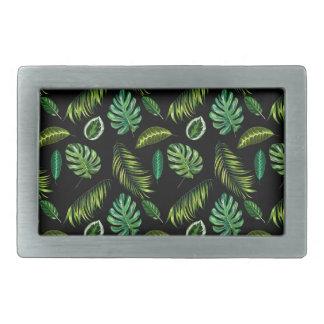 Boucles De Ceinture Rectangulaires Motif tropical Tiki floral fait main de feuille