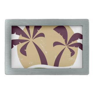 Boucles De Ceinture Rectangulaires Palmettes vintages et coucher du soleil Brown