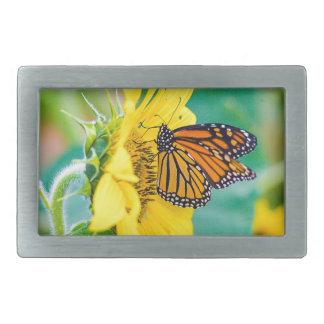 Boucles De Ceinture Rectangulaires Papillon sur un tournesol