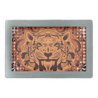 Boucles De Ceinture Rectangulaires Portrait ornemental de tigre
