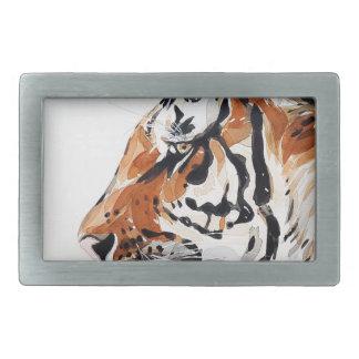 Boucles De Ceinture Rectangulaires Profil d'aquarelle de peinture de nature animale