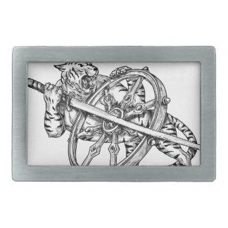 Boucles De Ceinture Rectangulaires Tigre avec le tatouage de roue de Katana et de